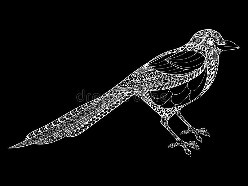 Amazing Download Hand Drawn Magpie Illustration For Antistress Coloring Page With  Stock Vector   Illustration Of Coloring