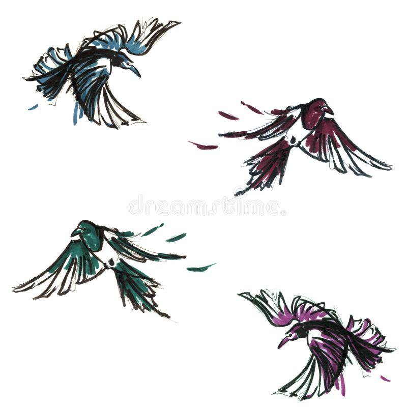 Hand Drawn Magpies Pattern vector illustration