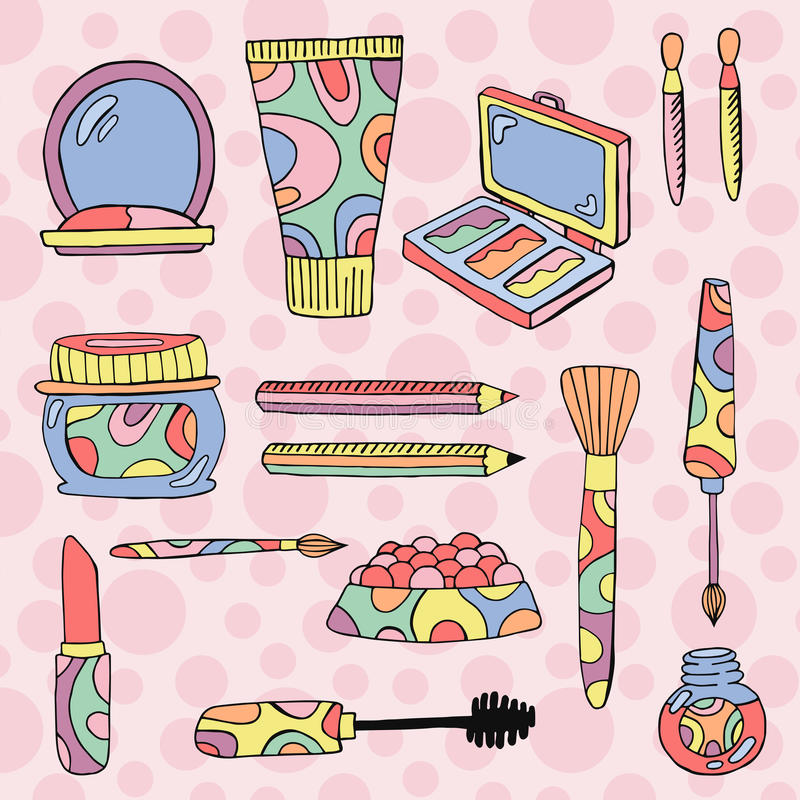 Hand drawn make up icons royalty free illustration