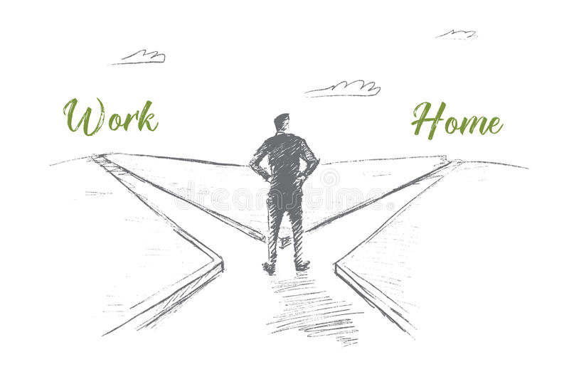 Hand drawn man choosing between work and home royalty free illustration