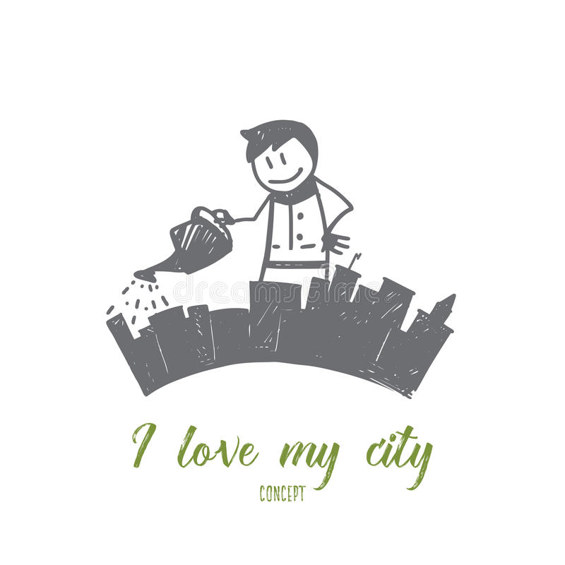 Hand drawn man puring his city from watering can stock illustration