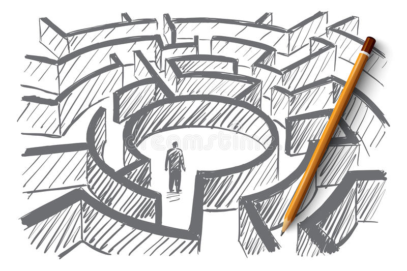 Hand drawn man standing in center of labyrinth vector illustration