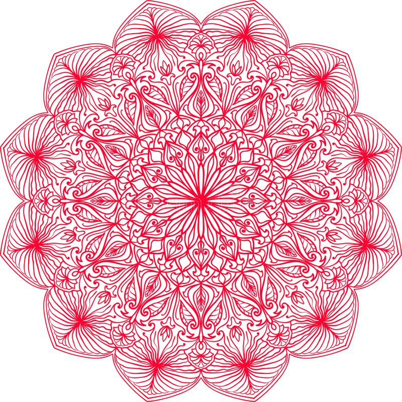 Hand drawn mandala. Ethnic round lacy pattern with colorful ornament. Isolated illustration in pink color stock illustration