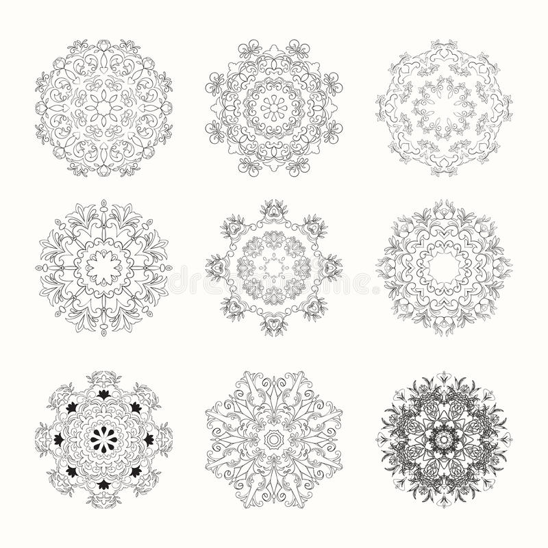 Hand drawn mandala set. Can be used for wedding invitation, postcard or website. Vector indian set. Ethnic boho design. Art concept royalty free illustration