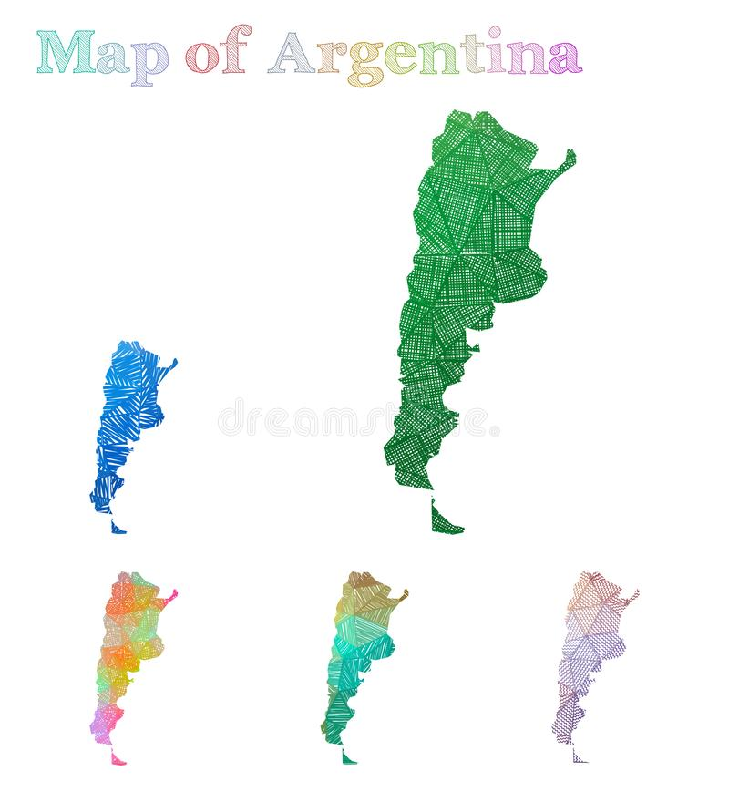 Hand-drawn map of Argentina. stock illustration