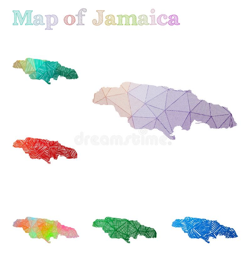 Hand-drawn map of Jamaica. Colorful country shape. Sketchy Jamaica maps collection. Vector illustration vector illustration