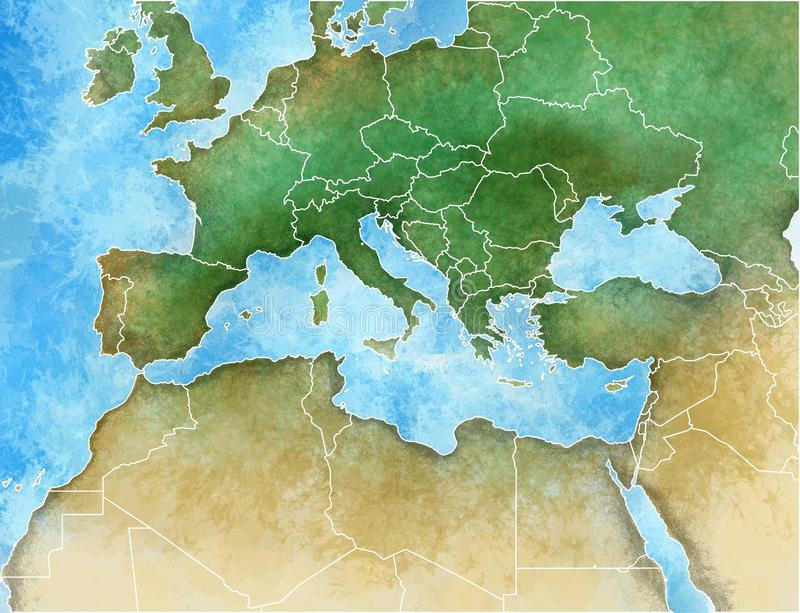 Hand-drawn map of the Mediterranean. Europe, Africa and Middle East vector illustration