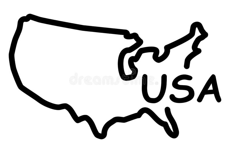 Hand-drawn map of the United States of America royalty free illustration