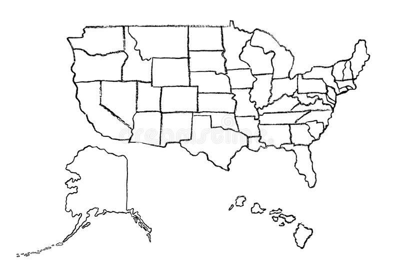 Hand Drawn Outline Map United States Stock Illustrations ...