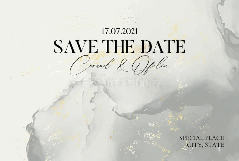 Hand-drawn marble texture in pastel grey colors with watercolor fluid ink and golden foil glitter. Tender Chic business cover,. Save the Date card, wedding royalty free illustration
