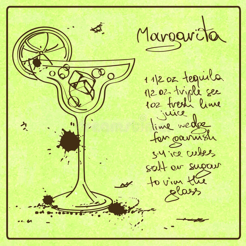 Hand drawn Margarita cocktail. Illustration with hand drawn sketch Margarita cocktail. Including recipe and ingredients on the grunge vintage background vector illustration