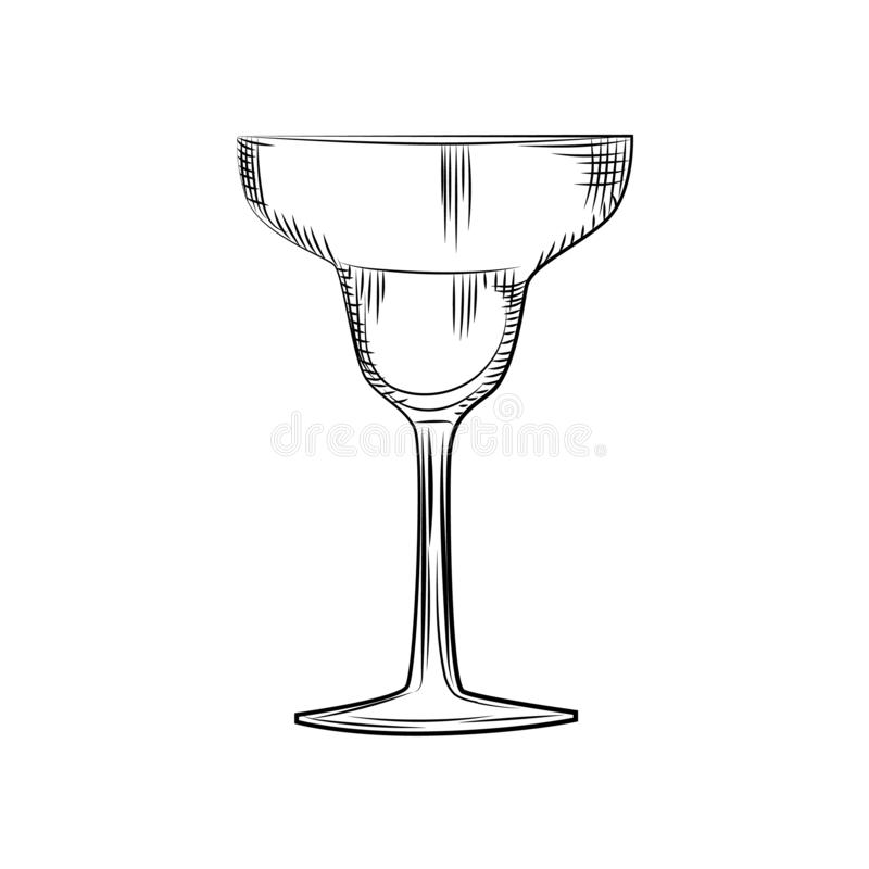 Hand drawn margarita glass sketch. Engraving style. illustration isolated. Hand drawn empty margarita glass sketch. Engraving style. Vector illustration isolated royalty free illustration