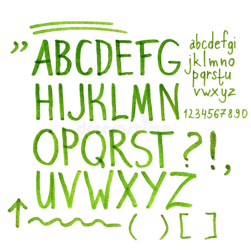 Hand drawn marker artistic font stock illustration