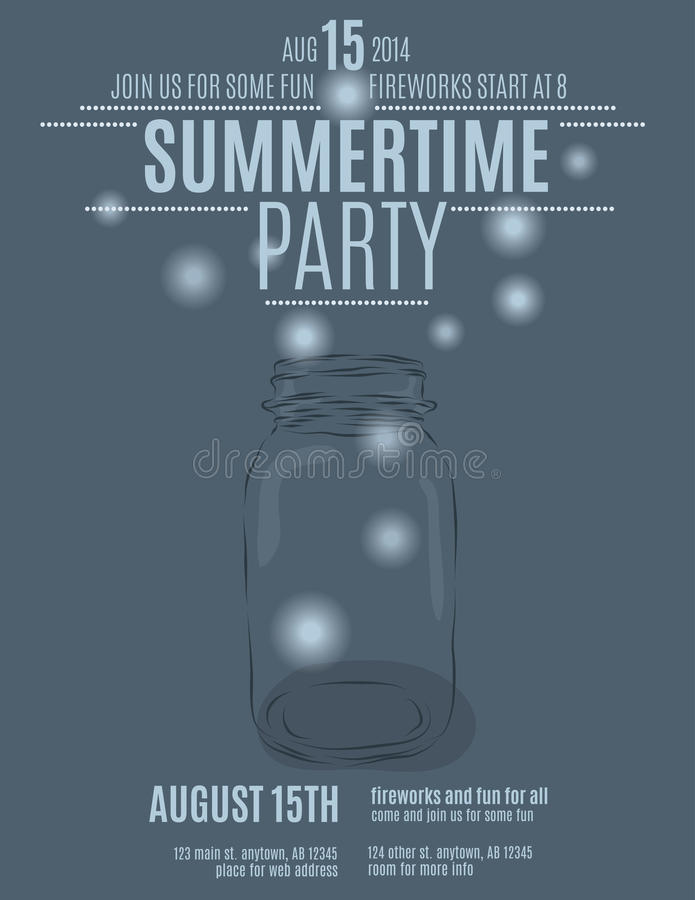 Hand drawn mason jar with fireflies. Hand drawn mason jar background flyer template for a summer party vector stock illustration