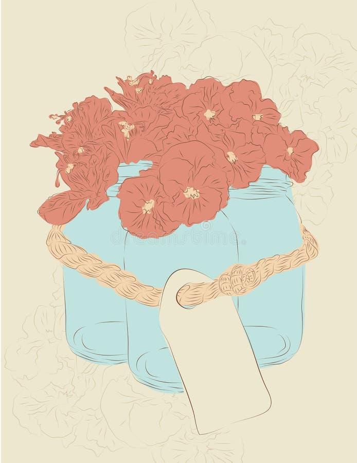 Hand drawn mason jars with flowers. Set of three hand drawn mason jars tied together with flowers stock illustration