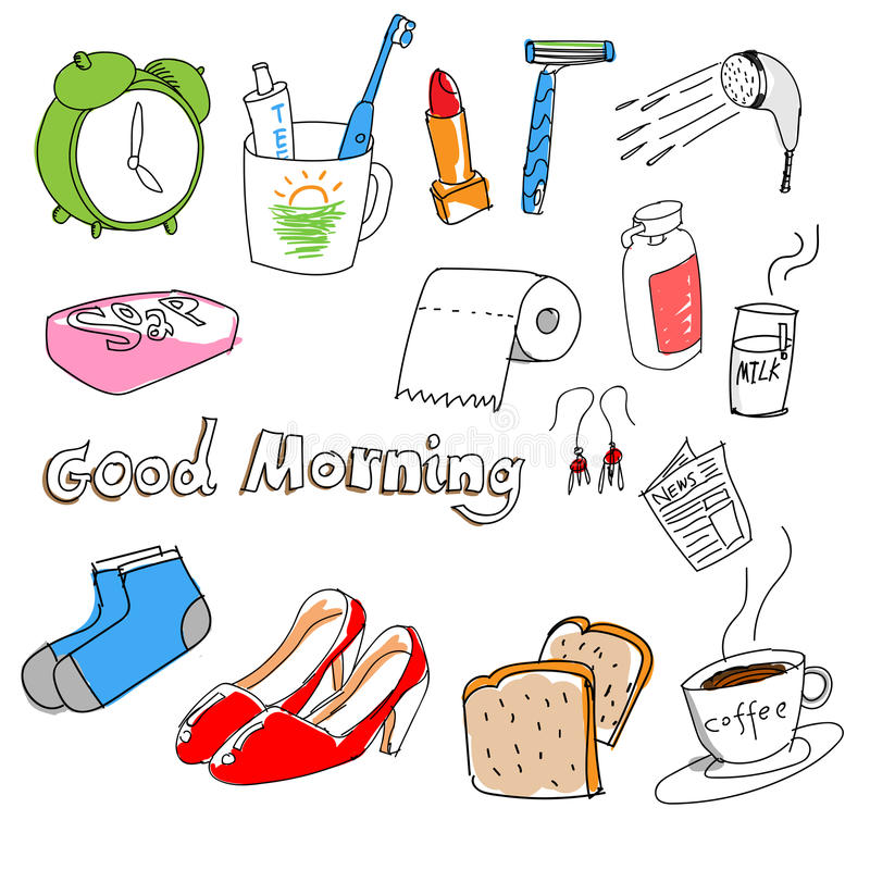 Hand-drawn materiaal in de ochtend royalty-vrije stock fotografie