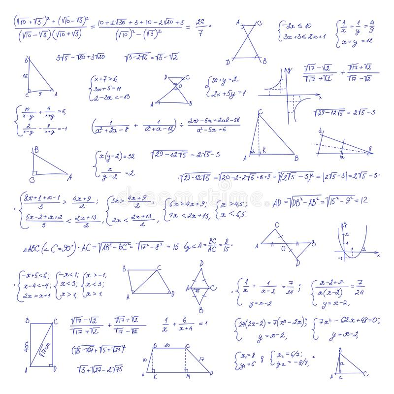 Hand drawn mathematical equation with handwritten algebra formulas. Geometry figures on white paper. Exercise book. Handwriting scribble. Vector seamless stock illustration