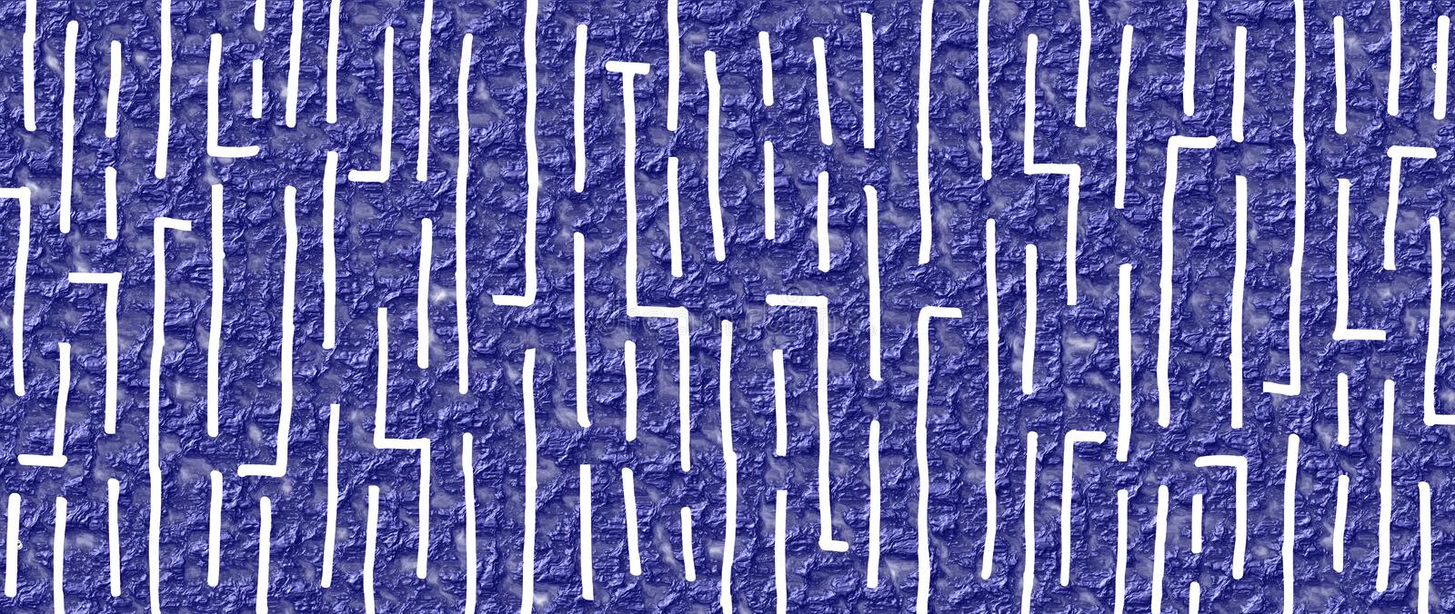 Hand drawn maze style design 19 with navy blue wrinkled varnish background. Artistic vector graphic may be used as standalone or with other design elements or stock illustration