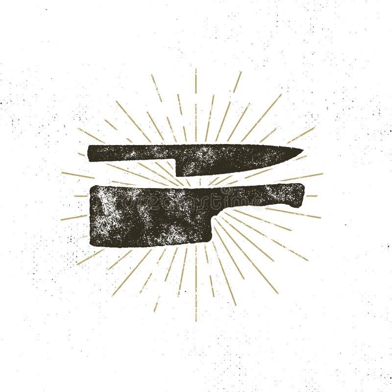 Hand drawn meat cleaver and knife symbols. Vintage steak house symbol. Letterpress effect with sunbursts. Vector design royalty free illustration