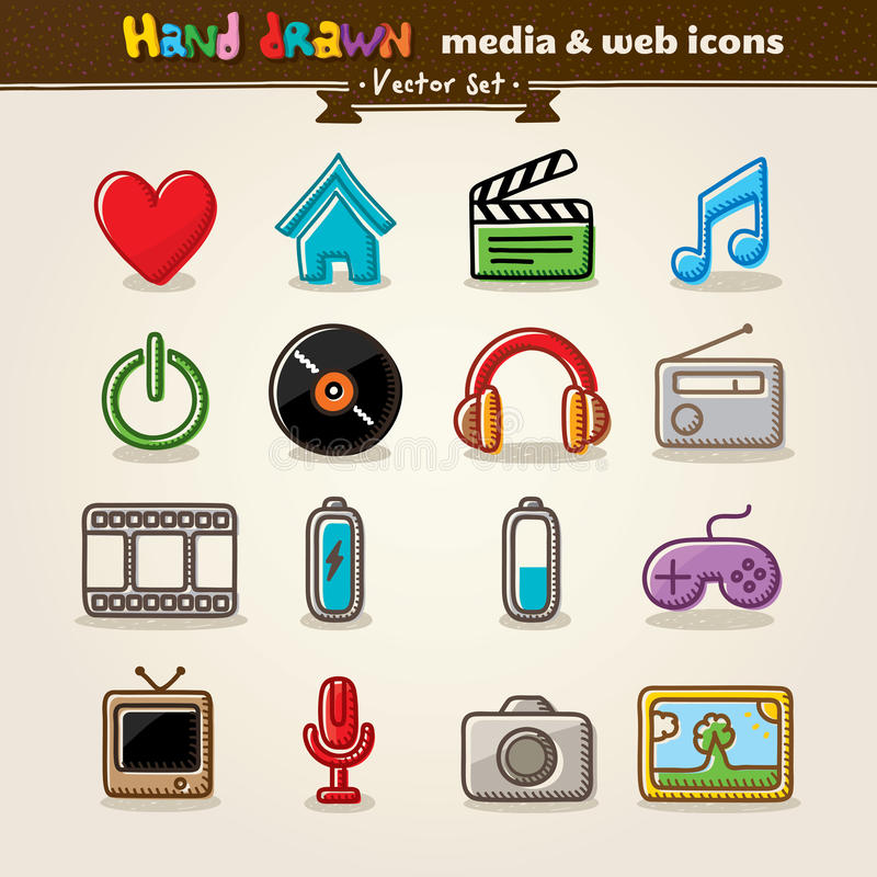 Hand Drawn Media And Entertainment Web Icons Stock Photography