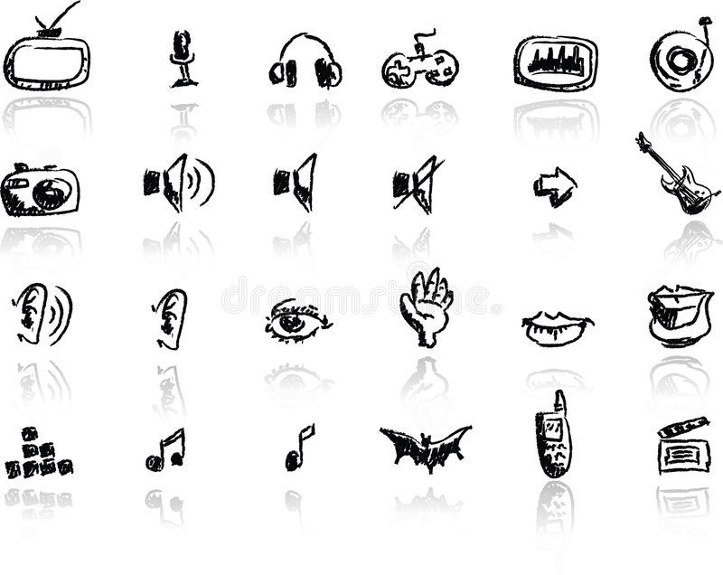 Download Hand drawn media icon set stock illustration. Illustration of movies - 4895187