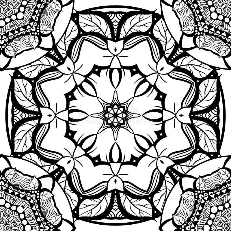 Hand-drawn mehendi sier naadloos patroon vector illustratie