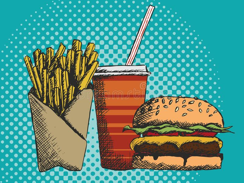 Hand drawn menu of junk food in fast food with fries burger and drink stock photography