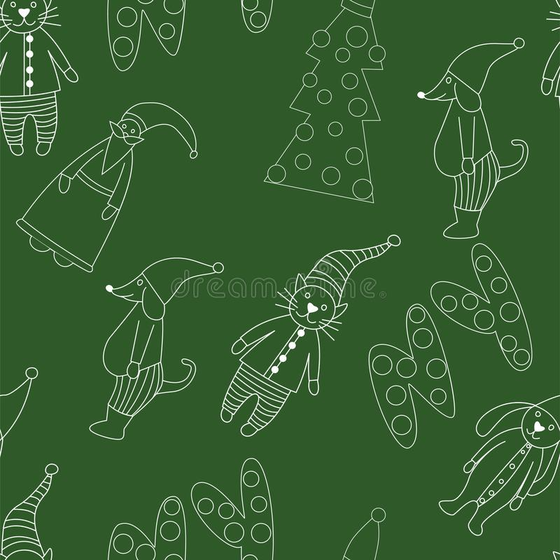 Hand drawn Merry Christmas doodle set with tree, toy animals, pets, star elements. Winter and holiday themes object. Vector royalty free illustration