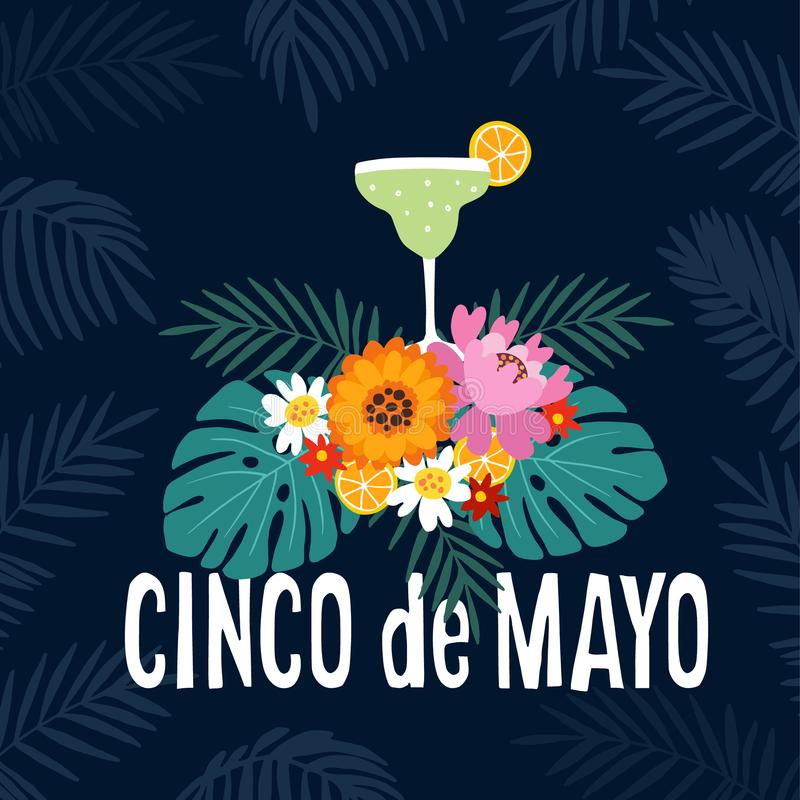 Hand drawn Mexican holiday Cinco de Mayo party greeting card, invitation. Margarita alcoholic cocktail drink with vector illustration