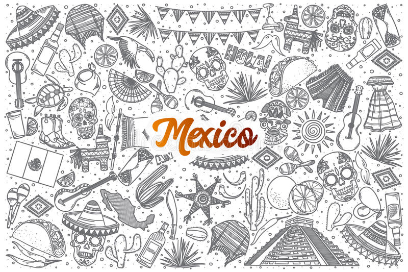 Hand drawn Mexico doodle set with lettering stock photos