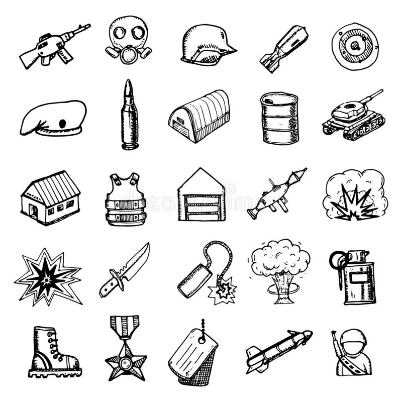 Hand Drawn military doodles set. Sketch style icons. Decoration element. Isolated on white background. Flat design. Vector vector illustration