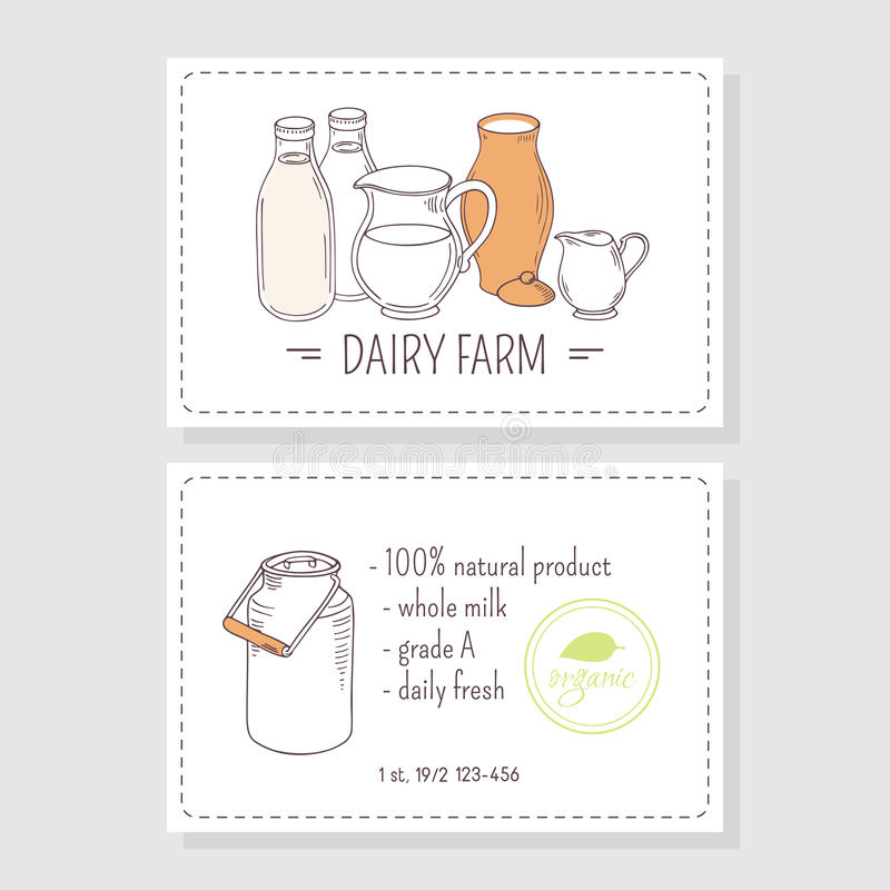 Hand drawn milk goods. Business cards template. For dairy farm with place for text. Vector illustration royalty free illustration
