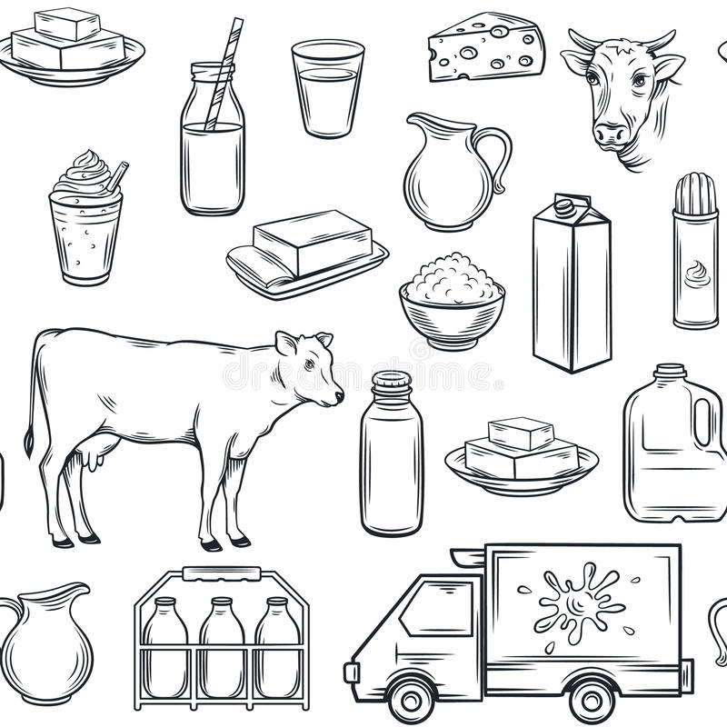 Free Hand Drawn Milk Product Seamless Pattern Royalty Free Stock Photo - 86569445