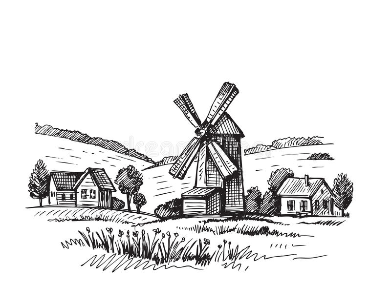 Hand drawn mill royalty free illustration