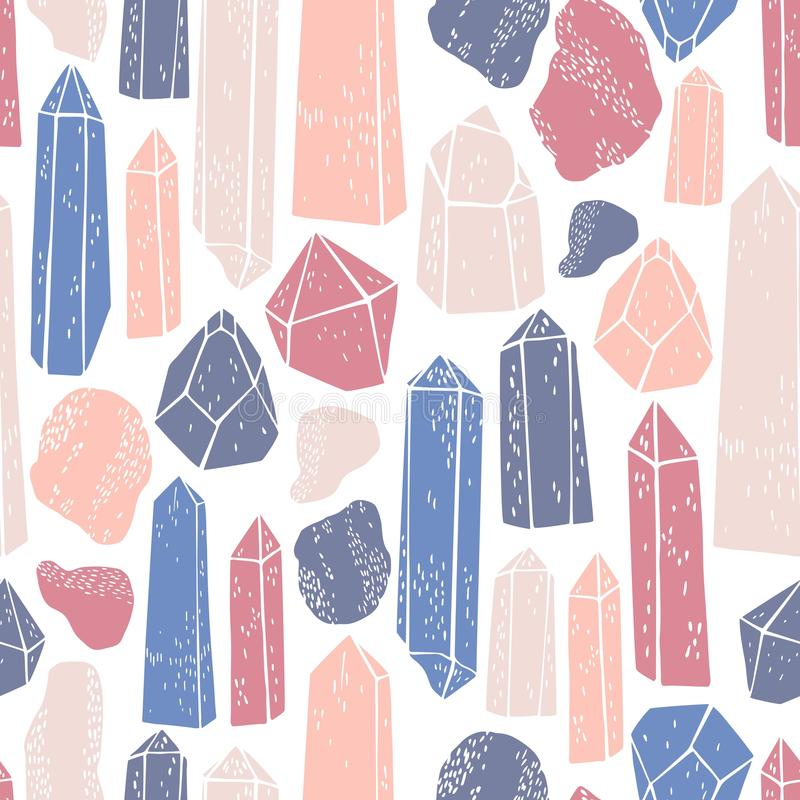 Hand drawn minerals, and crystals.  Vector   pattern stock illustration