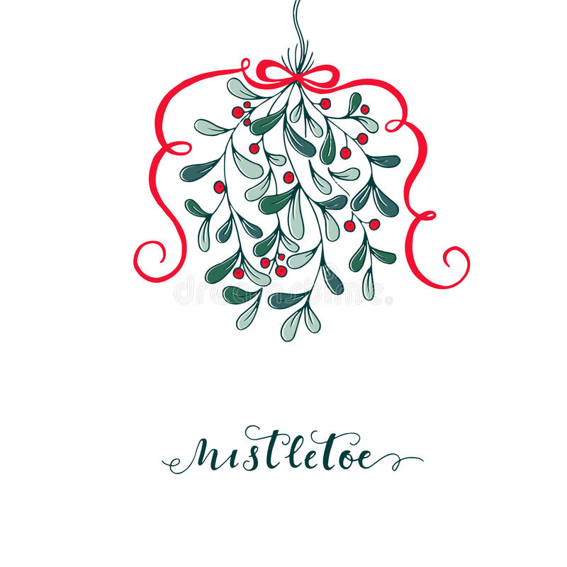 Hand drawn mistletoe. Vector Christmas plant background. Romantic Christmas illustration. Greeting card design. Vector mistletoe.Vector template royalty free illustration