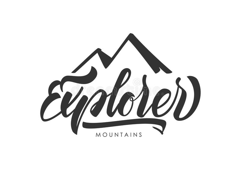 Hand drawn Modern brush lettering of Explorer with silhouette of mountains. royalty free illustration