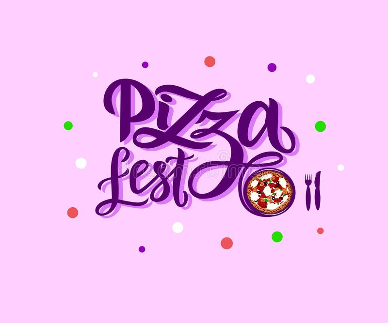 Hand drawn modern calligraphy lettering Pizza Fest with illustration of pizza on pink background stock illustration