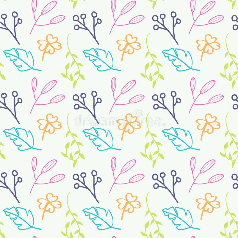 Hand drawn modern decorative floral seamless pattern stock illustration