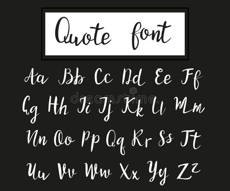 Hand drawn modern script, quote font royalty free stock photography
