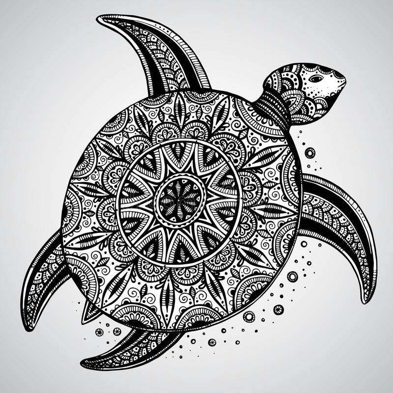 Hand drawn monochrome doodle turtle decorated with orient stock illustration