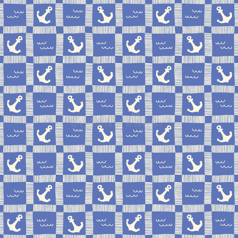 Hand-Drawn Monochrome Nautical Plaid with Anchors and Waves Vector Seamless Pattern. Blue Marine Background royalty free illustration