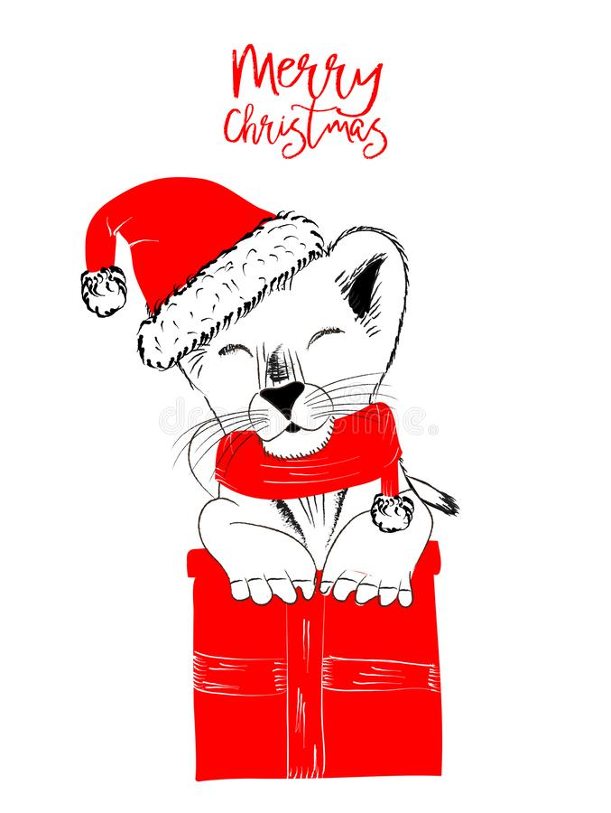 Hand drawn monochrome vector illustration with a cute lion celebrating a Merry Christmas. Isolated on white background for print cards and web banner stock illustration