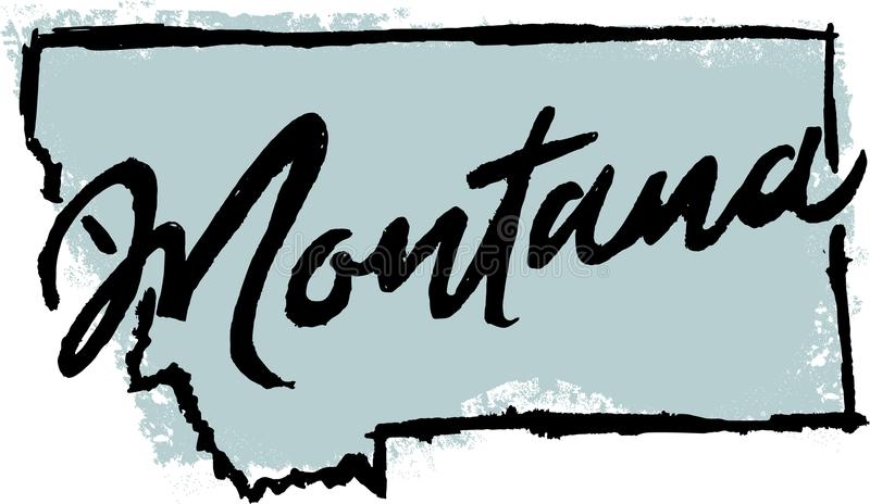 Hand Drawn Montana State Sketch stock illustration
