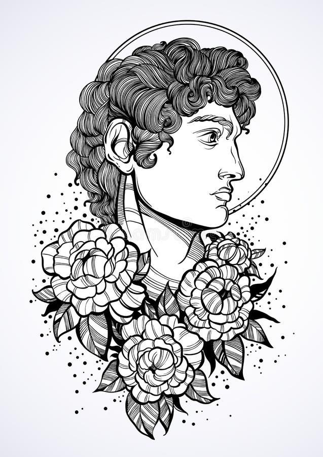Hand-drawn mooi portret van David met pioen rond bloemen Oude Griekse goden ? ntiquity, mythologie, tatoegeringskunst, drukken royalty-vrije illustratie