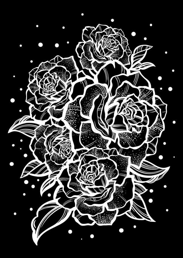 Hand-drawn mooie rozen Zwarte decoratie Grafische uitstekende samenstelling Vector Geïsoleerdel illustratie T-shirts, druk, affic stock afbeelding