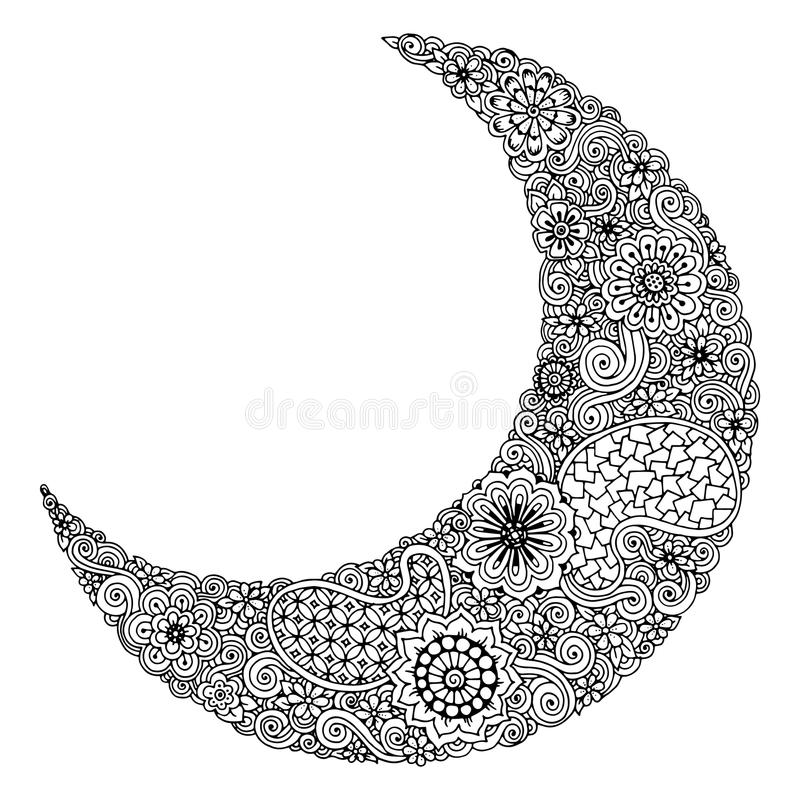Hand drawn moon with flowers, mandalas and paisley. Black and white floral pattern stock illustration
