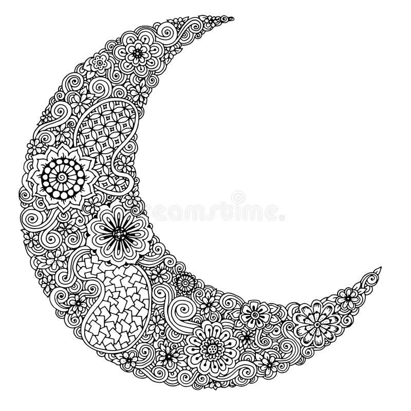 Hand drawn moon with flowers, mandalas and paisley. Black and white floral pattern. stock illustration