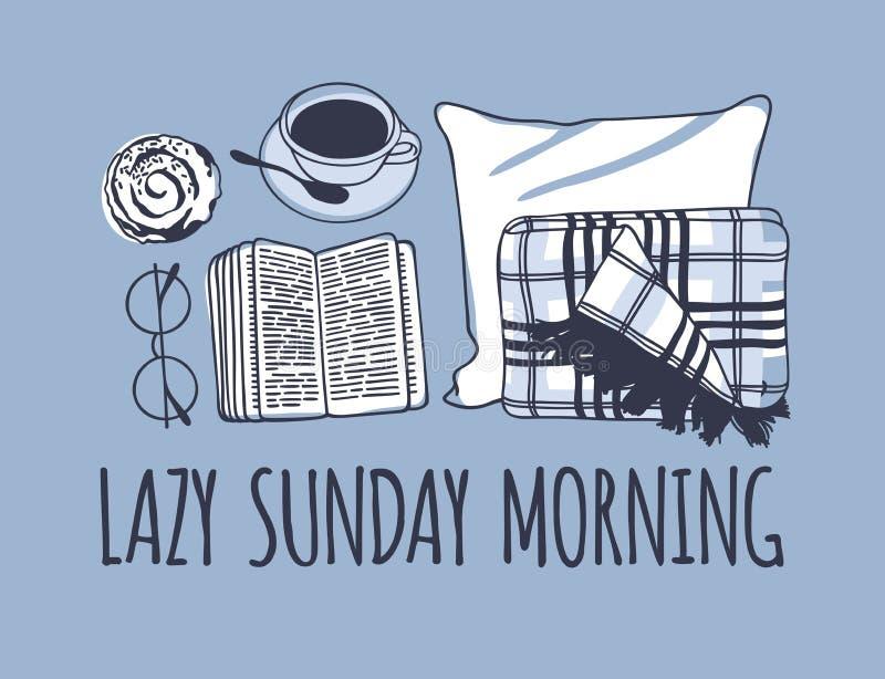 Hand drawn morning fashion illustration. Creative ink art work. Actual vector drawing. Cozy set, plaid, book, coffee. Hand drawn morning fashion illustration royalty free illustration