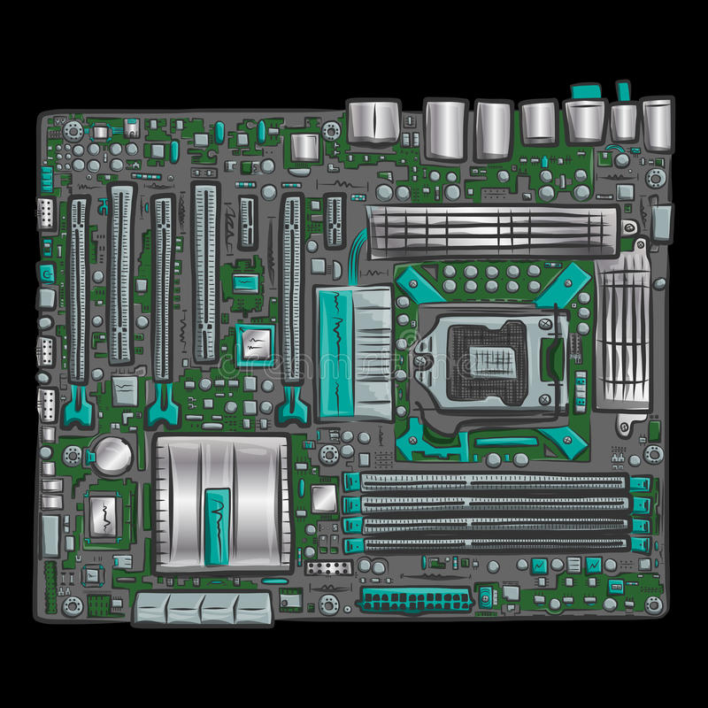 Hand drawn motherboard. Conceptual vector illustration for Your design, eps10 stock illustration